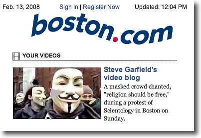 As seen on Boston.com: Anonymous Scientology Protest Video
