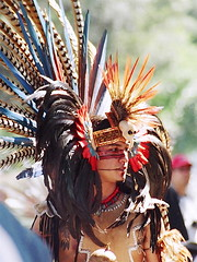 Aztec Dancer-2 (catface3) Tags: blue red black mexico smithsonian costume aztec dancer facepaint americanindians nationalmuseumoftheamericanindian nmai featheredheaddress catface3