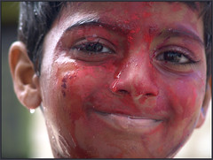 RAMESH_2 (Sukanto Debnath) Tags: boy red portrait india colors smile face festival kid child sony young holi f828 debnath hyserabad sukanto sukantodebnath