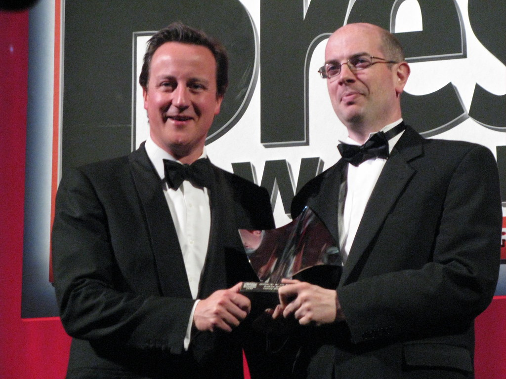 Andrew Gilligan recieves the Journalist of the Year award from David Cameron