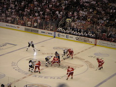 Opening faceoff, Pens-Wings game 2