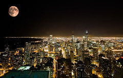 Moon over Chicago (please suspend reality) (iceman9294) Tags: chicago searstower johnhancockobservatory