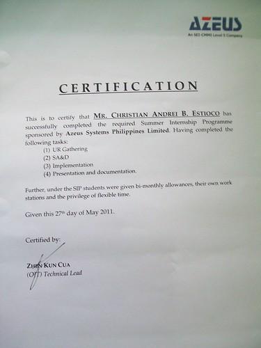 My Azeus Certificate