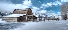 Snow Barn (one rancher) Tags: snow mountains barn fence jackson wyoming tetons hdr mormonrow