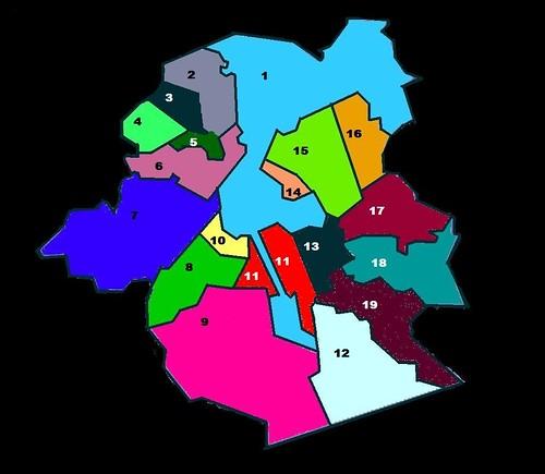 Mapa das Comunas de Bruxelas