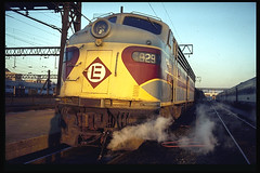 Erie-Lackawanna E-8 at Hoboken (brooklynparrot) Tags: nyc pc pennsylvania trains nh newhaven 1970s railroads prr penncentral newyorkcentral