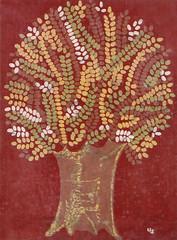 Autumn Tree (Batikart) Tags: art flora kunst craft bild batik baumwolle kunsthandwerk herbstbaum viewonblack batikart ursulasander wachstechnik