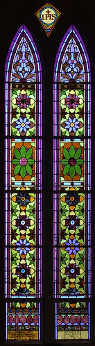 Sainte Genevieve Roman Catholic Church, in Sainte Genevieve, Missouri, USA - stained glass window 3