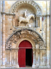 Ornate Doorway (canong2fan (on the road again!)) Tags: door red horse church statue geotagged arch oppression doorway melle canong2 sainthilaire poitoucharentes