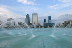 Downtown Jacksonville Florida (RobinB137) Tags: street bridge blue sky cloud building water fountain st skyline clouds buildings downtown friendship florida main jacksonville modis cmwdblue