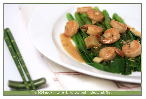 Yu Choy and Shrimp with Oyster and Hoisin Sauce (a different angle)
