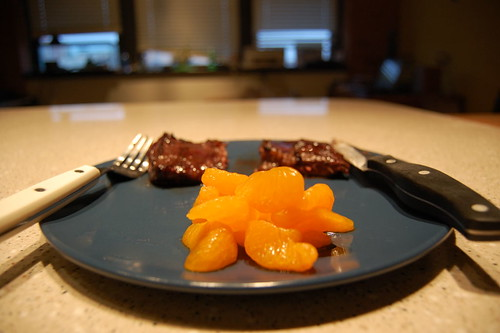 Blueberry Steak and Mandarin Oranges