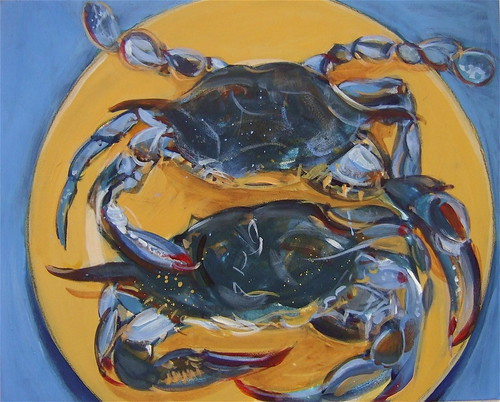 Blue crabs, yellow plate