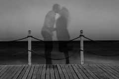 ghost kiss mono (PDKImages) Tags: shadows ghosts love kiss beauty not there story looking memories waiting searching disappeared disappearing firstkiss lastkiss silhouettes hooded wishing monochrome sea coast waves blues blue lost palomarenaissance sky turkey