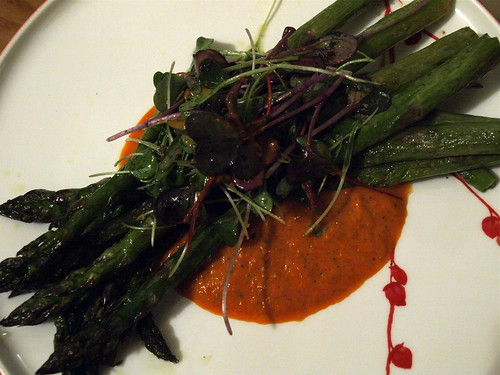 roasted asparagus with red pepper puree