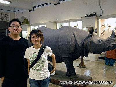 Rachel and I with a plastic rhino which we could see no purpose of exhibiting