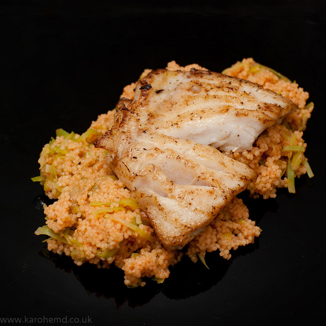 Pan-fried fillet of pollock on spicy couscous