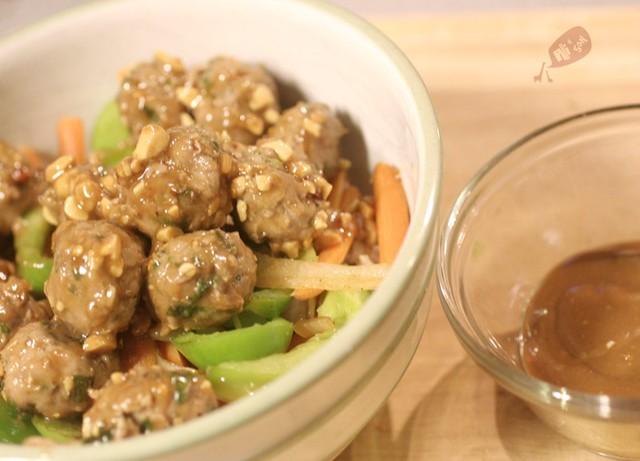 Baked Turkey Meatballs with Peanut Butter Sauce