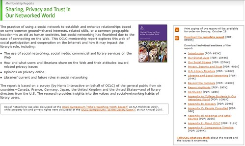New OCLC report on sharing, privacy, trust, and social networking