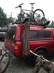 Justin's black rain pants, post punk bike enduro