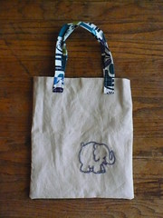 Linen Elephant Tote