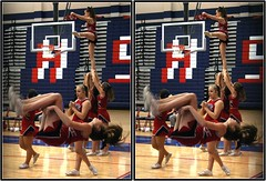 Clear Creek Wildcats at Clear Lake Falcons, Houston, Texas 2007.12.11 (fossilmike) Tags: 3d crosseye texas cheerleaders houston cameo clearcreekhighschool ccisd clearlakehighschool