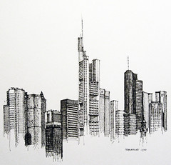 Frankfurt (Flaf) Tags: tower skyline pen ink drawing bank antenne gmp commerzbank sparkasse hochhaus deutsche skycraper wolkenkratzer messeturm artbookklub