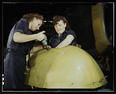 "Working on a ""Vengeance"" dive bomber, Vultee [Aircraft Inc.], Nashville, Tennessee  (LOC) (The Library of Congress) Tags: woman usa white industry america plane vintage us women war factory nashville tennessee rosietheriveter aircraft military unitedstatesofamerica wwii slidefilm worldwarii transparency ww2 4x5 lf libraryofcongress february bomber largeformat drill civilian worldwar2 1943 cooperation wartime transparencies vengeance manufacturing womenatwork nashvilletn divebomber workforce vultee february1943 davidsoncounty wareffort xmlns:dc=httppurlorgdcelements11 dc:identifier=httphdllocgovlocpnpfsac1a35368 alfredtpalmer vulteeaircraftincorporated alfredpalmer airplaneindustry vulteevengeance womenhairstyles"