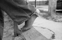 Foot (High Water Media) Tags: wood friends summer blackandwhite bw fall film college feet church monochrome fence silver foot blackwhite sand toes path weekend maine highschool jeans retreat barefoot denim 1995 grainy youthgroup ferrybeach senioryear emulsion uu unitarianuniversalist paintedtoenails silverhalide collegeadmissions