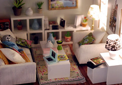 It starts to look like a real living room (Linda Leow) Tags: nintendo dollhouse wii dslite