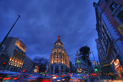Madrid Gran Via (GustavoCba) Tags: world madrid city trip travel autumn vacation portrait people cloud color colour building art history love nature architecture clouds digital photoshop canon fun outdoors photography photo high spain scenery europe flickr day exterior place angle no awesome famous capital memories cities award sigma landmark illuminated international destination imagination manual ideas hdr iconos argentino beutiful cubism argentinos fotgrafos citycape supershot cordobeses 5photosaday flickrsbest photpgrapher 400d mywinners abigfave platinumphoto anawesomeshot impressedbeauty citrit flickrlovers