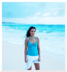 (monsters.monsters) Tags: blue sea portrait woman beach girl female sand nikon dominicanrepublic cyan windy overcast breeze halter puntacana barcelo whiteskirt bavarobeach cooltones d80