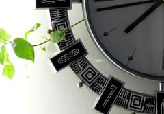 Green o'clock (Homikan) Tags: bw white black green clock leaves time      nostalogia