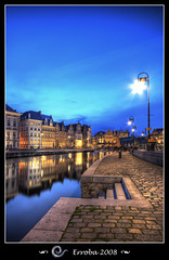 Grasleie after sunset, Gent, Belgium (Erroba) Tags: city sunset water photoshop canon reflections river lights belgium sigma tips 1020mm erlend ghent gent hdr 3xp 400d mywinners superbmasterpiece diamondclassphotographer flickrdiamond megashot goldstaraward erroba robaye erlendrobaye polarizerblue