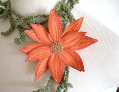 Lotus Flower Lariat- Orange Sorbet (Betsie Withey) Tags: orange flower green art mi scarf spring pretty lily lotus michigan unique crochet elf fantasy lariat etsy wearable fiberart rowan beading beaded saugatuck summertweed seedbeads scarflette silkdupioni fiberjewelry artscarf fibernecklace