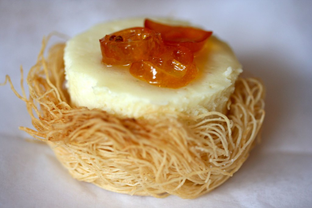 Goat Cheesecake with Candied Kumquats in a Kataifi Nest