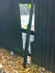 Broken Fence (lnp&cag) Tags: fence graffiti social alleyway fencing anti gully behaviour streetly