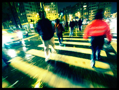 185-Eau et ville (gillespinault) Tags: brussels people motion blur wet rain night crossing belgium walk pedestrian 365 ricoh schaerbeek onepictureperday photodujour onepictureaday project365 meiser unephotoparjour gx100 project366 gillespinault scenicsnotjustlandscapes akigilles gillespinault366 akietgilles366