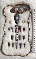 Artifacts - Powder River - back (WY Man) Tags: archaeology nativeamerican points burial arrowheads artifacts projectile leath