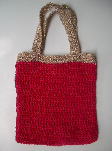 gold crochet bag