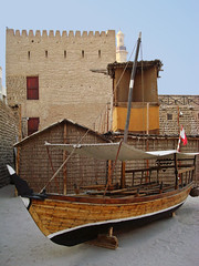 Dubai, UAE | Al-Fahidi Fort   #2 (ndrey) Tags: old city trip travel summer vacation holiday building history museum architecture wow boat store al dubai day ship tour view fort live flag united uae middleeast craft vessel roadtrip arabic emirates arab views jail abra government historical arabian residence monuments 10000 ruler summerhouse fortress oldest unitedarabemirates hdr 1000 ammunition persiangulf w00t 100000 burdubai emarati dubayy alfahidifort dubaimuseum  barasti  arabianpeninsula             fahidi