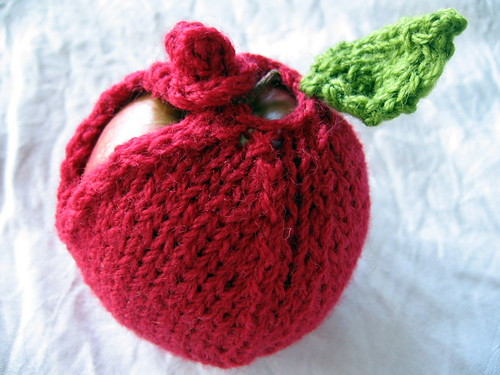 knitted apple cosy