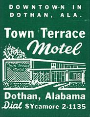 Town Terrace Motel, Dothan, Alabama (jericl cat) Tags: sign illustration vintage paper hotel design town neon terrace alabama motel architectural ephemera motor dothan matchbook