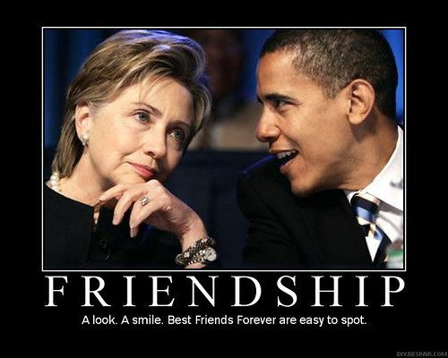 Barack Obama Hilary Clinton, Best Friends Forever motivational poster