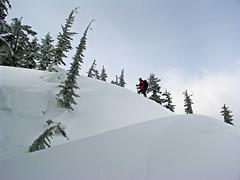 Matt gaining a drift along the ridge.