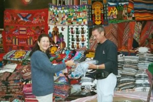 Chris at market, Peru 2003