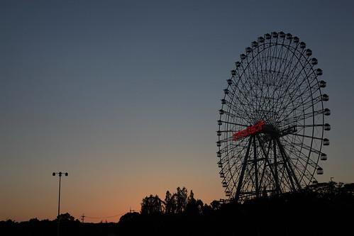 The ferris wheel of Osaka Expoland in dusk