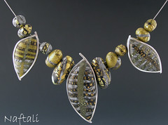 3 Leaf Necklace (metalartiste) Tags: polymerclay naftali sterlingsilver pcagoe beadalonpolymerclaysterlingsilver