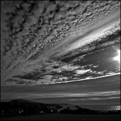 Black + White cloud study - Altocumulus Radiatus (s0ulsurfing) Tags: ocean light shadow sea sky blackandwhite bw cliff cloud sunlight white seascape black beach nature water weather silhouette rock clouds contrast square island grey mono bay coast blackwhite rocks skies natural bright wind patterns wide shoreline silhouettes wideangle monotone cliffs coastal shore vectis isleofwight flare coastline rays sunrays isle shafts soe beams squared wight sunbeams 2007 freshwater altocumulus 10mm freshwaterbay sigma1020 flickrsbest s0ulsurfing thecloudappreciationsociety abigfave radiatus platinumphoto aplusphoto cloudstudy diamondclassphotographer altocumulusradiatus