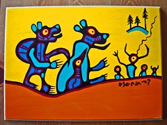 First meeting (Northwest haidaan) Tags: wood yellow painting artwork native bears ojibway firstmeeting norval morrisseau somestuffido
